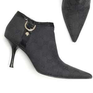 Gucci Monogram D Ring High Heel Ankle Booties